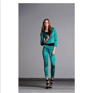 Alexis Snakeskin Print Green S Pants Leggings